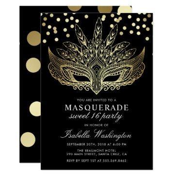 gold confetti masquerade sweet 16 party invitations