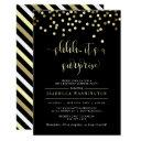gold confetti surprise birthday party invitations