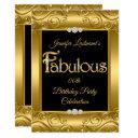 gold damask diamond fabulous birthday party invitation
