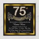 gold diamond 75th birthday party invitation