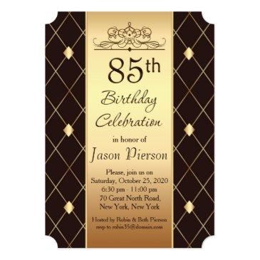 Gold Diamond Pattern On Brown 85th Birthday Party Invitations