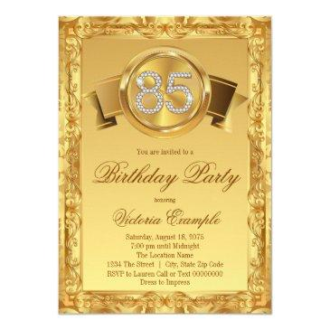 Gold Diamond Swirl Womans 85th Birthday Invitations
