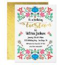 gold foil floral mexican fiesta birthday party invitation