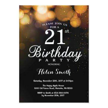 Small Gold Glitter 21st Birthday Invitation Front View