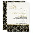 gold glitter damask 70th surprise birthday party invitations