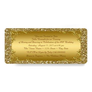 gold glitter golden ticket party invitation