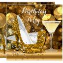 gold glitter high heels cocktail birthday party invitation