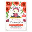 gold glitter i ladybug watercolour first birthday invitation