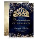 gold glitter navy blue photo tiara quinceañera invitation