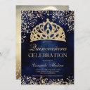 gold glitter navy blue photo tiara quinceañera invitation