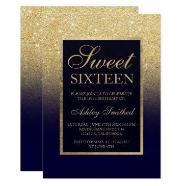 gold glitter ombre navy blue elegant sweet sixteen invitation