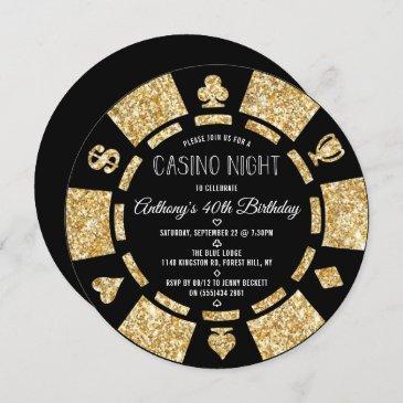 gold glitter poker chip casino night party invitation