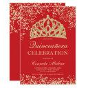 gold glitter red crown tiara quinceañera invitation