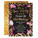 gold glitter spa birthday party invitations