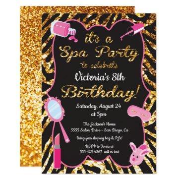 gold glitter spa birthday party invitations
