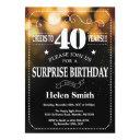 gold glitter surprise 40th birthday invitation