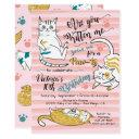 gold kitty cat birthday party invitation