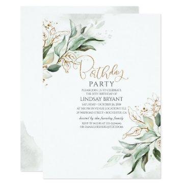 gold leaves eucalyptus greenery cute birthday invitation
