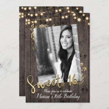 gold leaves & lights rustic dark wood sweet 16 invitation