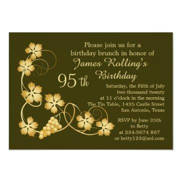 gold leaves on vine, your background 95th birthday invitations
