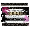 gold miami glitter glam palm trees birthday party invitation