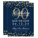 gold navy blue 90th birthday save date confetti invitation