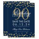 gold navy blue 90th birthday save date confetti invitations