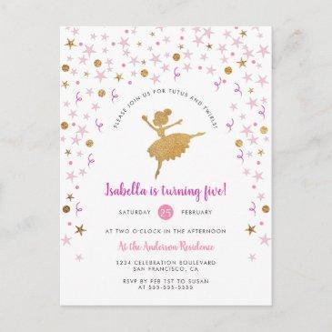 gold & pink confetti ballerina birthday invitation