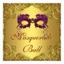 gold purple mask purple masquerade ball party invitations