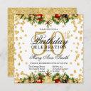 gold & red holiday glitter glam 50th birthday invitation