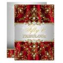 gold red pearl damask fifty and fabulous invite