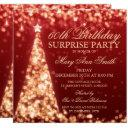 gold red surprise 60th birthday christmas lights invitation