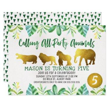 gold safari animals birthday invitation
