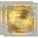 gold silver snowflake winter birthday party invitation