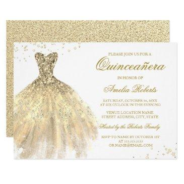 gold sparkle dress quinceanera invitations