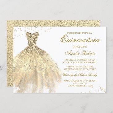 gold sparkle dress quinceanera invitation