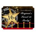 gold star hollywood red carpet party invitations