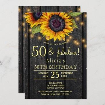 gold sunflowers country barn wood fifty fabulous invitation