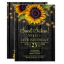 gold sunflowers country barn wood sweet sixteen invitation