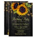 gold sunflowers rustic barn wood birthday party invitations