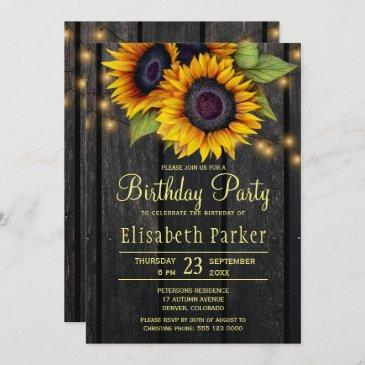 gold sunflowers rustic barn wood birthday party invitation