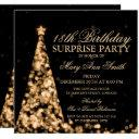 gold surprise 18th birthday christmas lights invitation