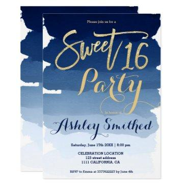 gold typography navy blue watercolor sweet 16 invitation