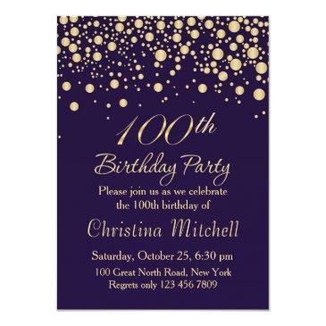 golden confetti 100th birthday party invitation