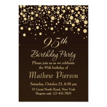 golden confetti 95th birthday party invitations