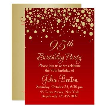 golden confetti on red 95th birthday invitations