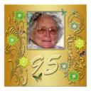 golden garden 95th birthday party invitation