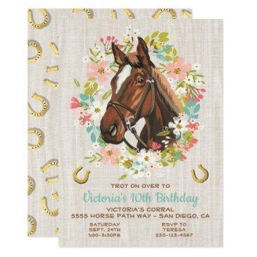golden horseshoe wreath horse birthday party invitations