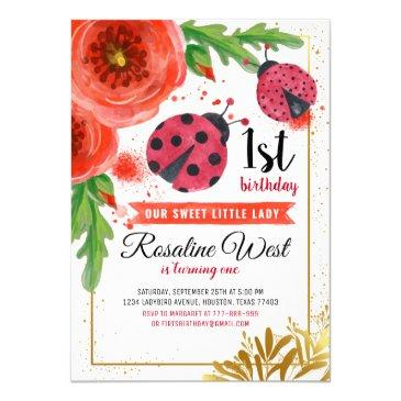 golden red ladybug watercolour first birthday invitation