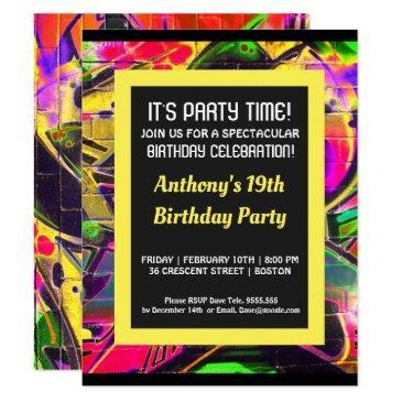 graffiti abstract letters birthday invitation